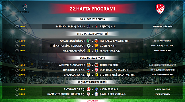 Süper Lig 22. hafta maç programı